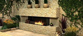 Outdoor Setting - Flex 86BY.BXL 嵌入式燃烧室 by EcoSmart Fire
