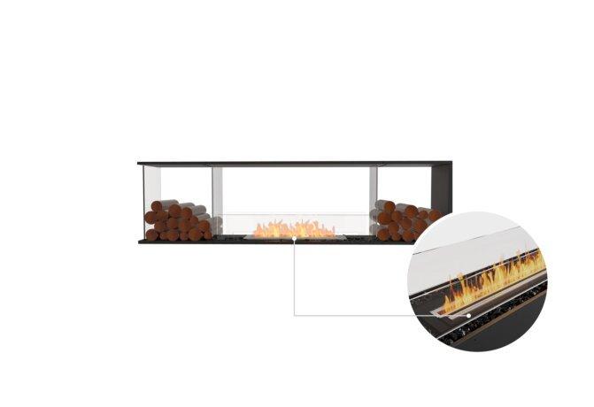 Flex 78PN.BX2 Peninsula - Ethanol - Black / Black / Installed View by EcoSmart Fire