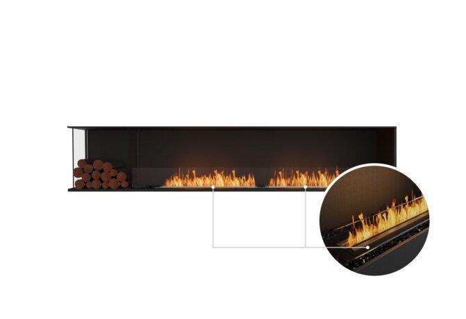 Flex 104LC.BXL Left Corner - Ethanol - Black / Black / Installed View by EcoSmart Fire