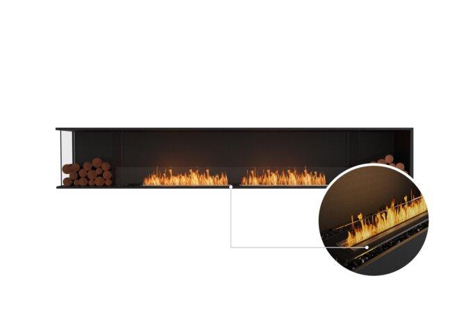 Flex 122LC.BX2 Left Corner - Ethanol - Black / Black / Installed View by EcoSmart Fire