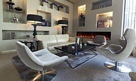 Lobby Indoor Fireplaces Built-In Fire Idea