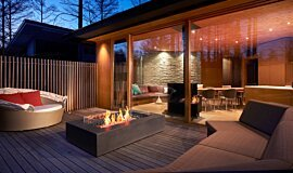 Private Residence Linear Fires Freestanding Fire Idea