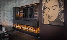 Hillside Residence Linear Fires Built-In Fire Idea