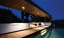 Portsea Private Pool Pavilion Linear Fires Built-In Fire Idea