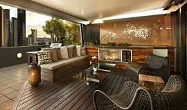 Private Balcony Linear Fires Built-In Fire Idea