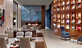 St Regis Hotel Lobby 2 Linear Fires Built-In Fire Idea