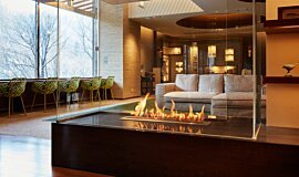 Midorinokaze Resort Kitayuzawa Linear Fires Built-In Fire Idea