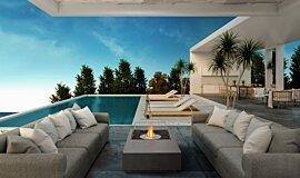 Poolside Fluid Concrete Technology 壁炉家具 Idea
