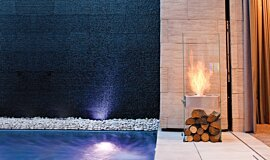 New American Home Landscape Fireplaces 设计壁炉 Idea