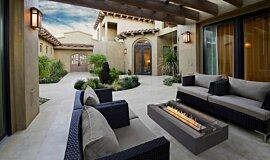 Courtyard Fluid Concrete Technology 壁炉家具 Idea