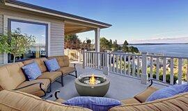 Outdoor Balcony Fluid Concrete Technology 壁炉家具 Idea