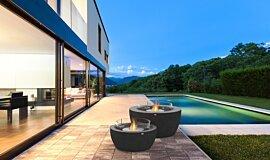 Outdoor Deck Fluid Concrete Technology 壁炉家具 Idea